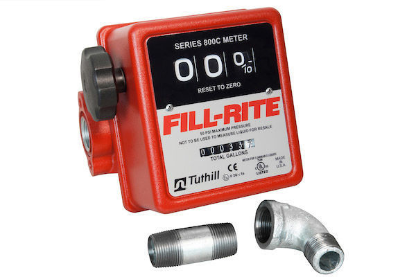 """Picture of FILL-RITE 807CMK 3/4"""" 5-20 GPM 3 DIGIT MECHANICAL METER, ALUMINUM, WITH MOUNTING KIT FOR 1200, 2400, 600 and 700 SERIES PUMPS"""