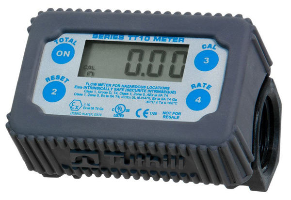 "Picture of FILL-RITE TT10PN 1"" 2 - 35 GPM(8-132 LPM) DIGITAL IN-LINE TURBINE CHEMICAL TRANSFER METER, POLYMER"