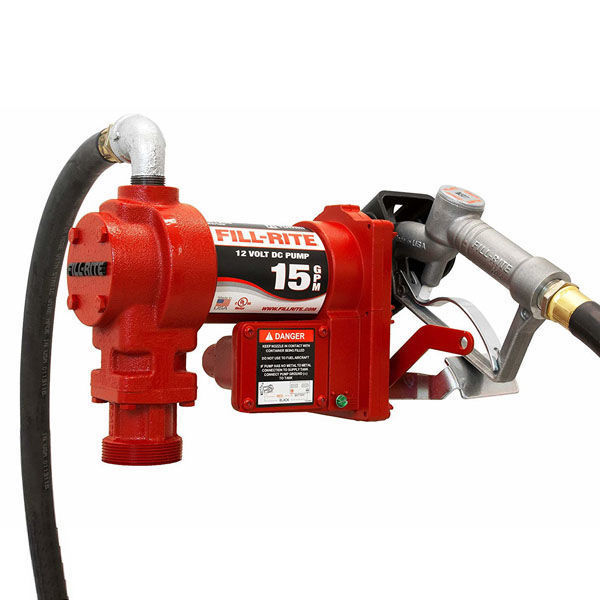 """Picture of FILL-RITE FR1210G FUEL TRANSFER PUMP, TELESCOPING SUCTION PIPE, 12' DELIVERY HOSE, MANUAL RELEASE NOZZLE - 12 VOLT, 15 GPM AND APACHE 99000233 3/4"""" FUEL SWIVEL BUNDLE"""